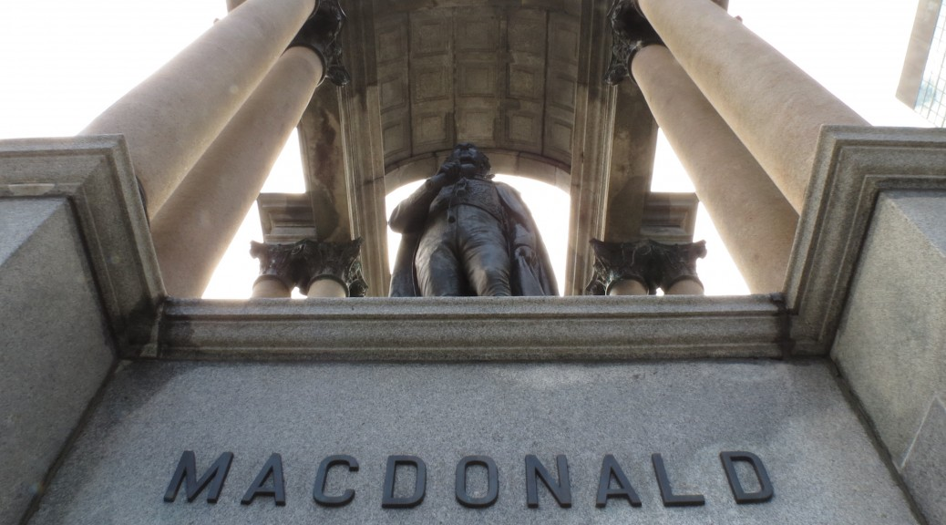 View from below, MacDonald monument at Place du Canada (photo by Tiffany Le)