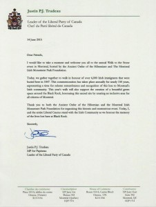 A 2015 letter from Justin Trudeau acknowledging the Walk to the Stone as well as him supporting a green space for the Rock. Image:http://www.montrealirishmonument.com/node/49